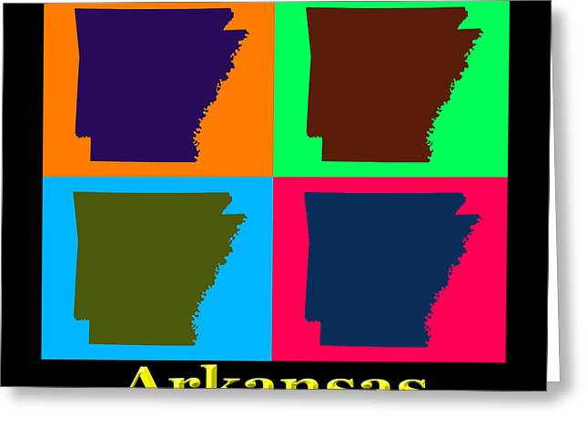 Arkansas State Map Greeting Cards - Colorful Arkansas State Pop Art Map Greeting Card by Keith Webber Jr