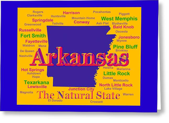 Russellville Arkansas Greeting Cards - Colorful Arkansas State Pride Map Silhouette  Greeting Card by Keith Webber Jr