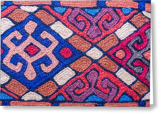 Furniture Tapestries Textiles Greeting Cards - Colorful asian fabic close up Greeting Card by Imran Khan