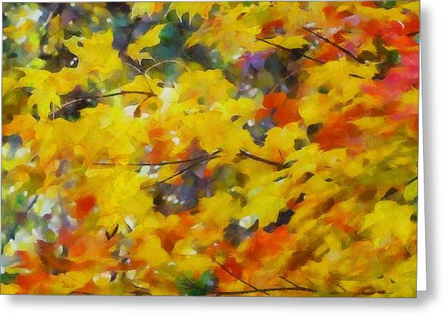 Red Leaves Mixed Media Greeting Cards - Colorful Autumn Foliage Greeting Card by Dan Sproul