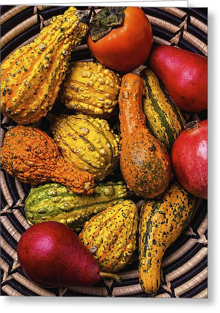 Ornamentation Greeting Cards - Colorful Autumn Gourds Greeting Card by Garry Gay