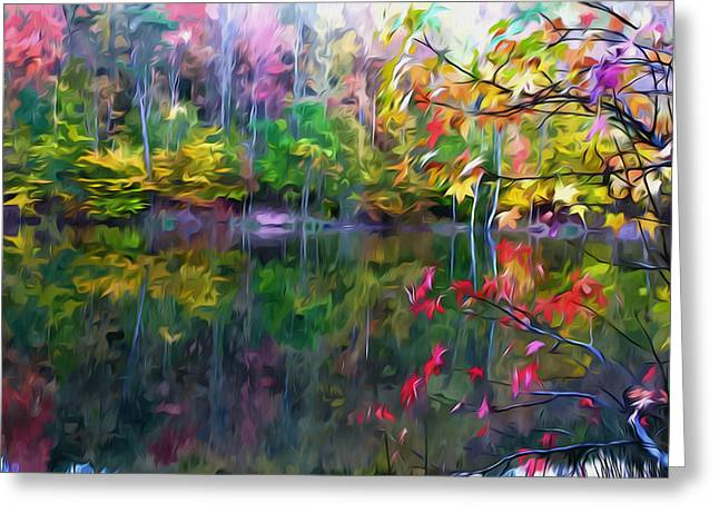 Trees Reflecting In Water Paintings Greeting Cards - Colorful Autumn Leaves Reflecting In The Water Greeting Card by Lanjee Chee