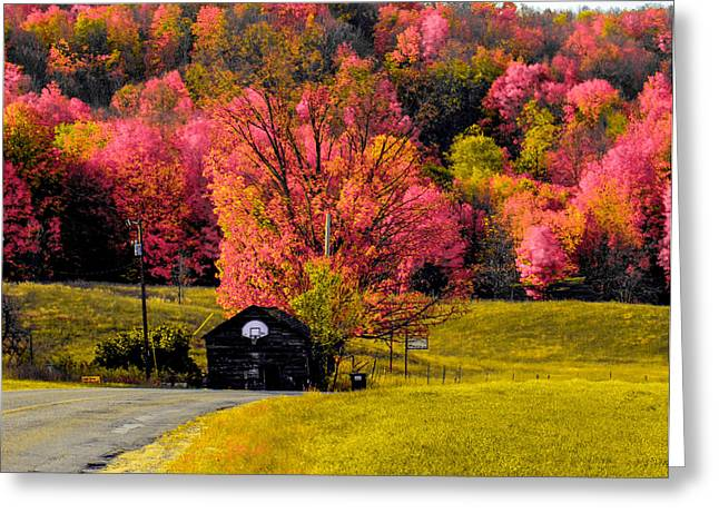 Basketballs Greeting Cards - Colorful Back Country Roads Greeting Card by Optical Playground By MP Ray