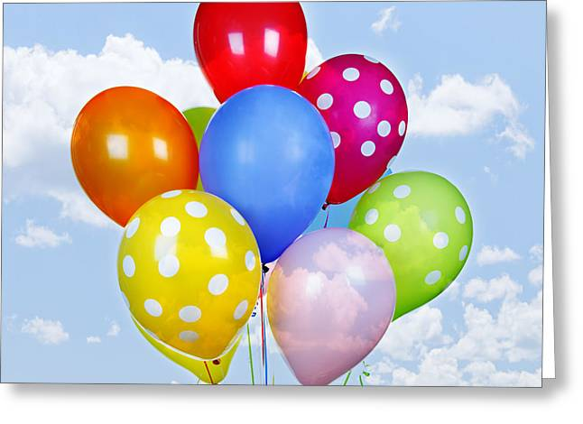 Occasion Photographs Greeting Cards - Colorful balloons with blue sky Greeting Card by Elena Elisseeva