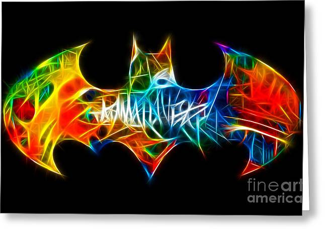 Book Art Greeting Cards - Electric Batman Shield Greeting Card by Pamela Johnson