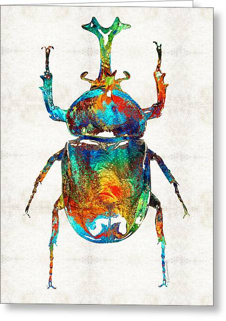 Pyramid Paintings Greeting Cards - Colorful Beetle Art - Scarab Beauty - By Sharon Cummings Greeting Card by Sharon Cummings