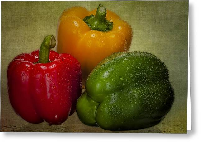 Colorful Bell Peppers Greeting Card by Susan Candelario
