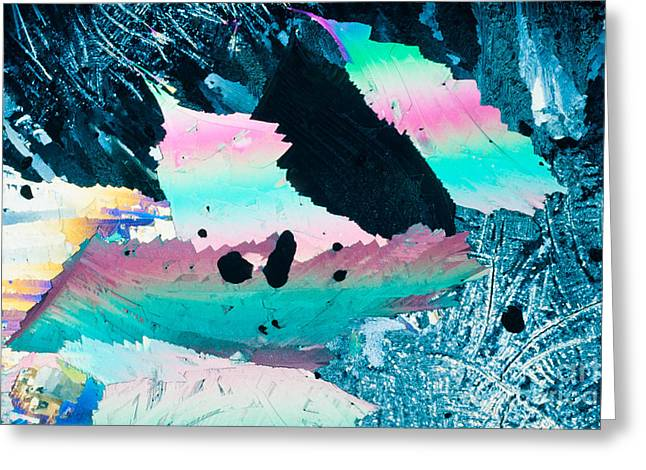Science Greeting Cards - Colorful benzoic acid microcrystals abstracts art Greeting Card by Stephan Pietzko