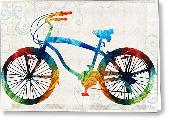 Freed Paintings Greeting Cards - Colorful Bike Art - Free Spirit - By Sharon Cummings Greeting Card by Sharon Cummings