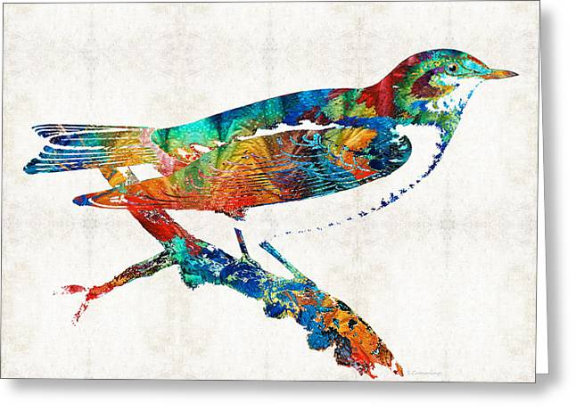 Happy Greeting Cards - Colorful Bird Art - Sweet Song - By Sharon Cummings Greeting Card by Sharon Cummings