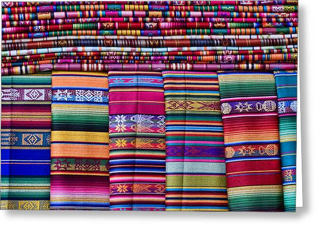 Colorful Southwest Greeting Cards - Colorful Blankets Santa Fe Greeting Card by Carol Leigh