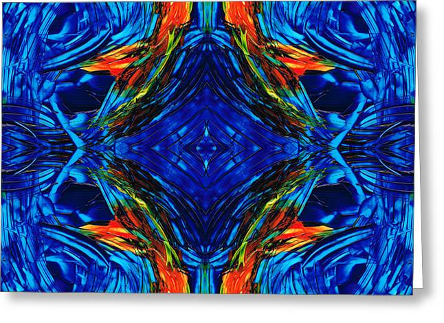 Large Prints Paintings Greeting Cards - Colorful Blue Abstract - Peace With The Past by Sharon Cummings Greeting Card by Sharon Cummings