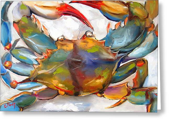Red Claws Greeting Cards - Colorful Blue Greeting Card by Carole Foret