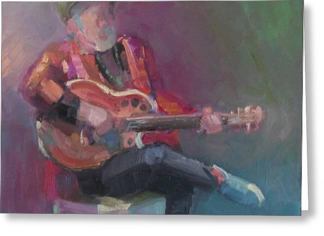 Eva Marie Greeting Cards - Colorful Blues Singer Greeting Card by Eva Marie Tanner-Klaas