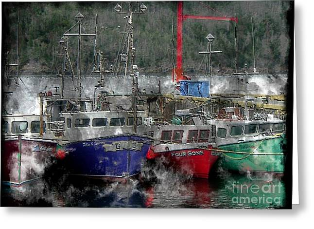 Boats In Harbor Digital Art Greeting Cards - Colorful Boats - Seascape - Steel Engraving Greeting Card by Barbara Griffin