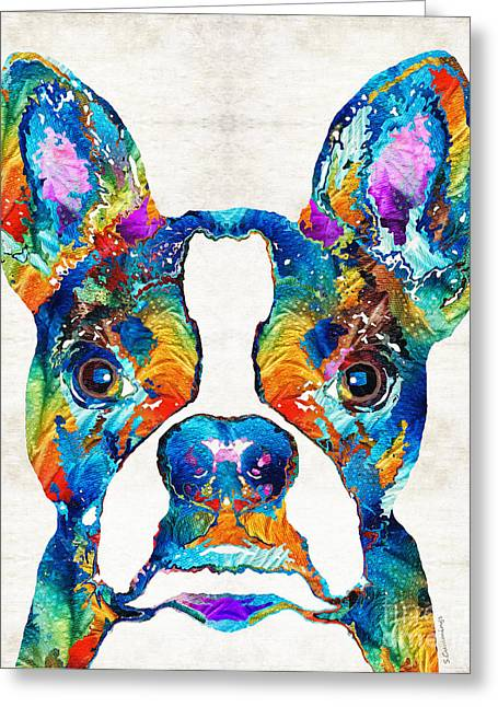 Happy Dogs Cute Dogs Greeting Cards - Colorful Boston Terrier Dog Pop Art - Sharon Cummings Greeting Card by Sharon Cummings