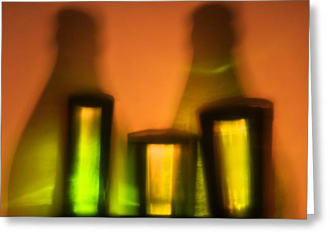 Wine-bottle Glass Greeting Cards - Colorful bottles and glasses Greeting Card by   larisa Fedotova