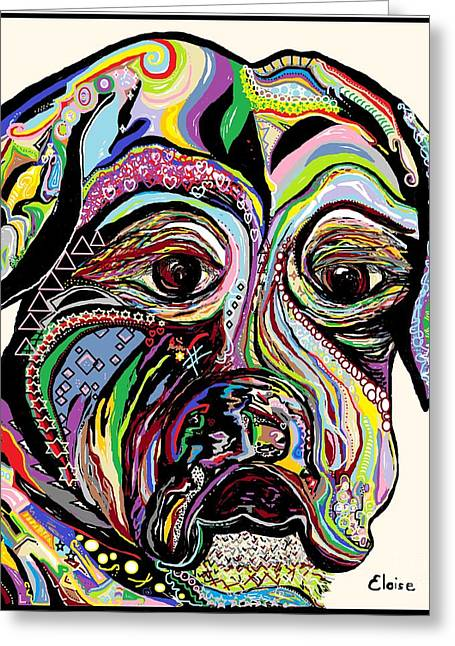 House Pet Mixed Media Greeting Cards - Colorful Boxer Greeting Card by Eloise Schneider