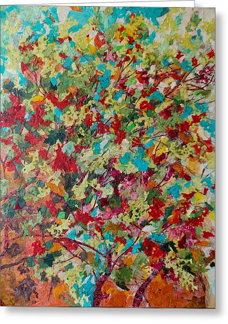 Kat Mixed Media Greeting Cards - Colorful Branch Collage Greeting Card by Kat Ebert