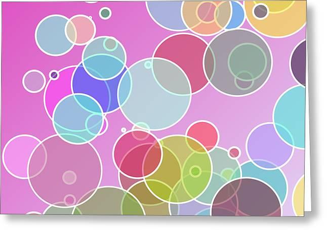 Geometric Digital Art Greeting Cards - Colorful bubbles Greeting Card by Gaspar Avila