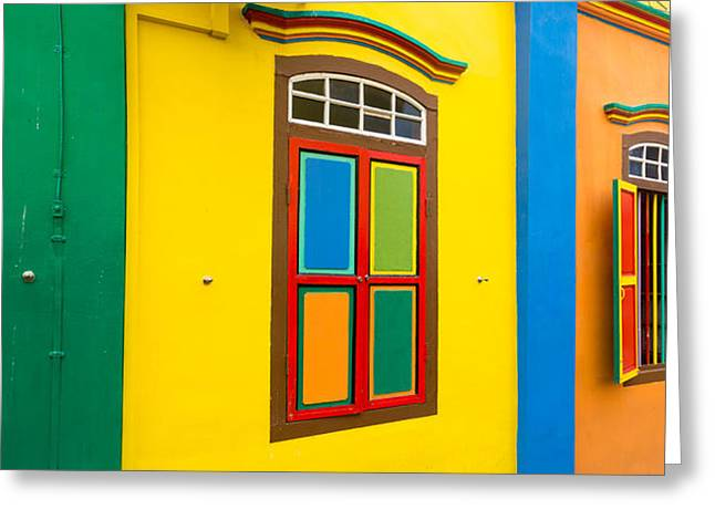 Residential District Greeting Cards - Colorful Building In Little India Greeting Card by Panoramic Images