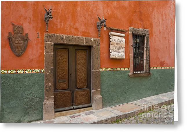 Entrance Door Greeting Cards - Colorful Building With Metal Door Greeting Card by Ellen Thane