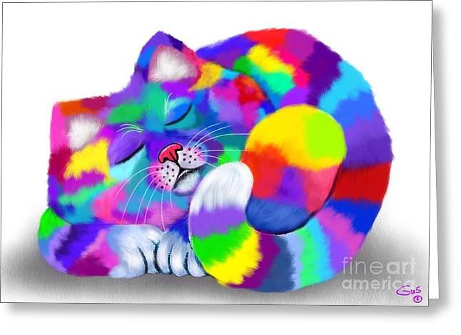 Feline Fantasy Greeting Cards - Colorful Calico Greeting Card by Nick Gustafson