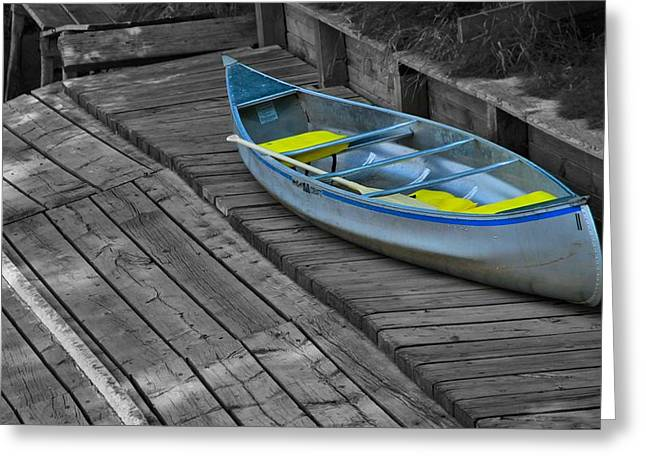 Canoe Greeting Cards - Colorful Canoe On The Dock Greeting Card by Dan Sproul