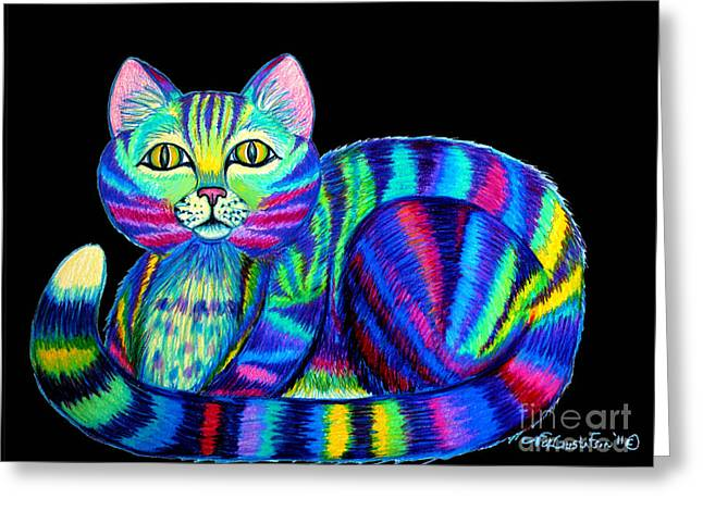 Cat Drawings Greeting Cards - Colorful Cat 2 Greeting Card by Nick Gustafson