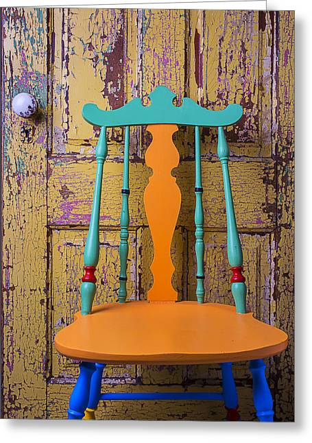 Door Knob Greeting Cards - Colorful Chair And Old Door Greeting Card by Garry Gay