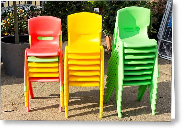 Kids Chair Greeting Cards - Colorful chairs Greeting Card by Tom Gowanlock