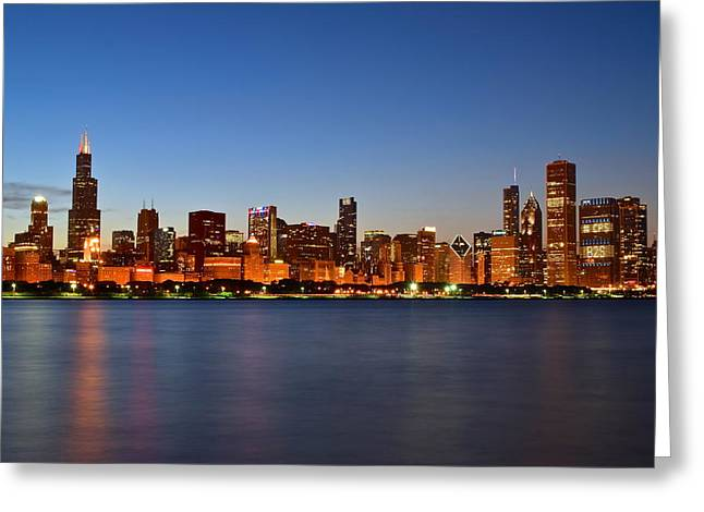 Chicago Bulls Greeting Cards - Colorful Chicago  Cityscape Greeting Card by Frozen in Time Fine Art Photography
