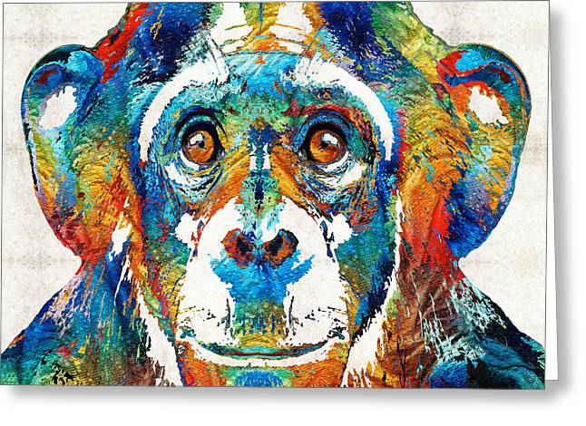 Creepy Paintings Greeting Cards - Colorful Chimp Art - Monkey Business - By Sharon Cummings Greeting Card by Sharon Cummings
