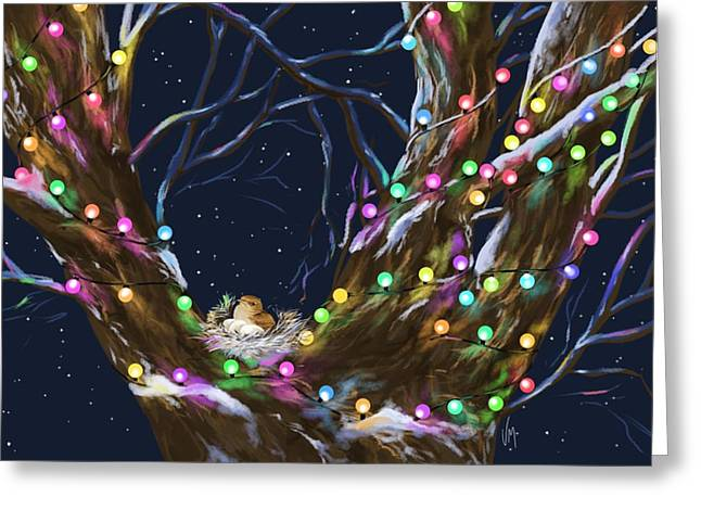 Christmas Lights Greeting Cards - Colorful Christmas Greeting Card by Veronica Minozzi