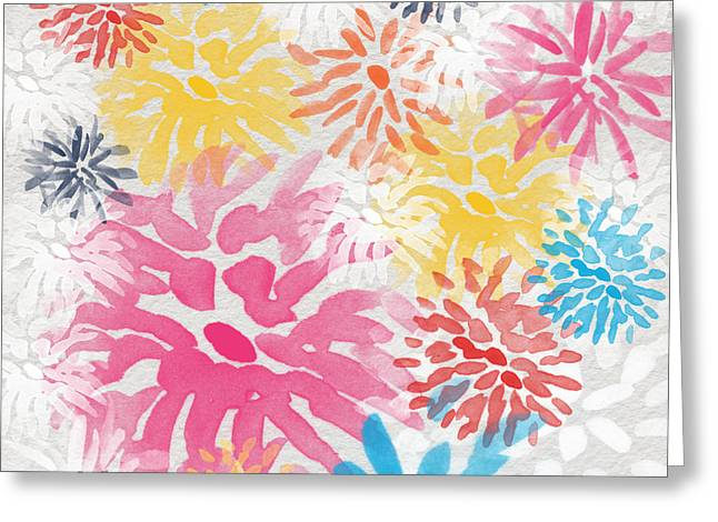 Colorful Chrysanthemums- abstract floral painting Greeting Card by Linda Woods