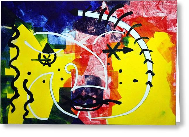 Monotype Greeting Cards - Colorful Circus Greeting Card by Alexandra Jordankova