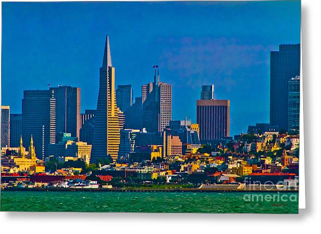 Colorful City By The Bay Greeting Card by Mitch Shindelbower