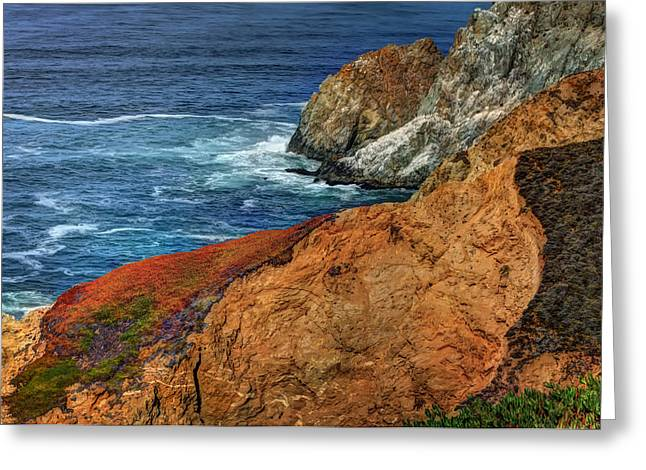 Hwy 1 Greeting Cards - Colorful Cliffs at Devils Slide - San Mateo County California 2 Greeting Card by  Jennifer Rondinelli Reilly