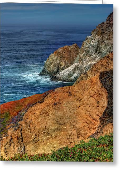 S. California Greeting Cards - Colorful Cliffs at Devils Slide - San Mateo County California Greeting Card by Jennifer Rondinelli Reilly