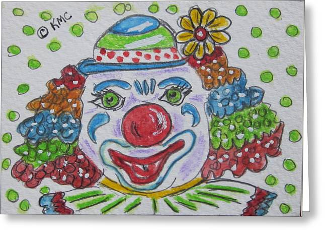 Colorful Clown Greeting Card by Kathy Marrs Chandler