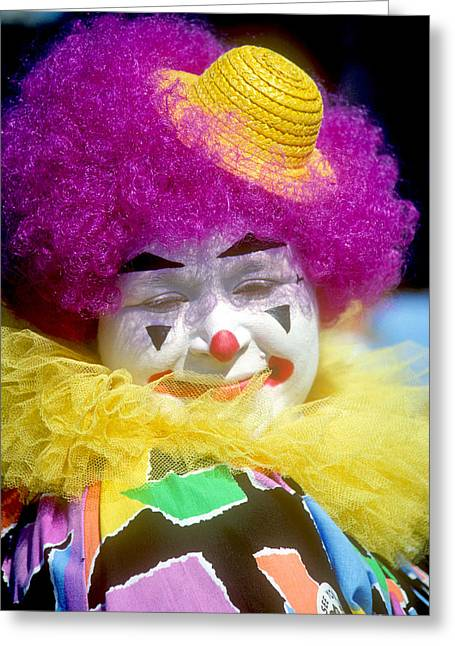 Colorful Clown Greeting Card by Kenneth Pagel