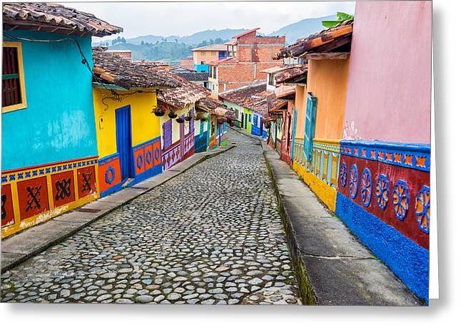 Colorful Cobblestone Street Greeting Card by Jess Kraft