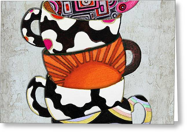 Colorful Coffee Cups Mugs Hot Cuppa Stacked I by Romi and Megan Greeting Card by Megan Duncanson