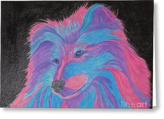 Puppies Mixed Media Greeting Cards - Colorful Collie Water Color Pencil Greeting Card by Margaret Newcomb
