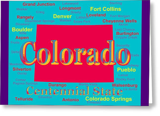Dinosaur Map Digital Art Greeting Cards - Colorful Colorado State Pride Map Silhouette  Greeting Card by Keith Webber Jr