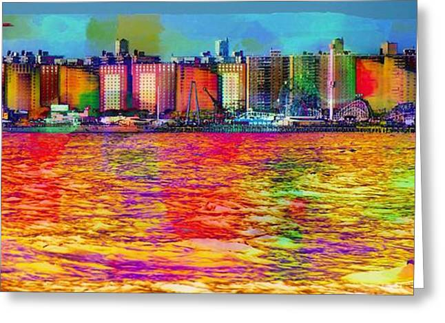 York Beach Greeting Cards - Colorful Coney Island Greeting Card by Lilliana Mendez