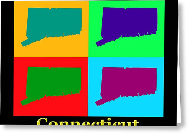 Connecticut Greeting Cards - Colorful Connecticut State Pop Art Map Greeting Card by Keith Webber Jr