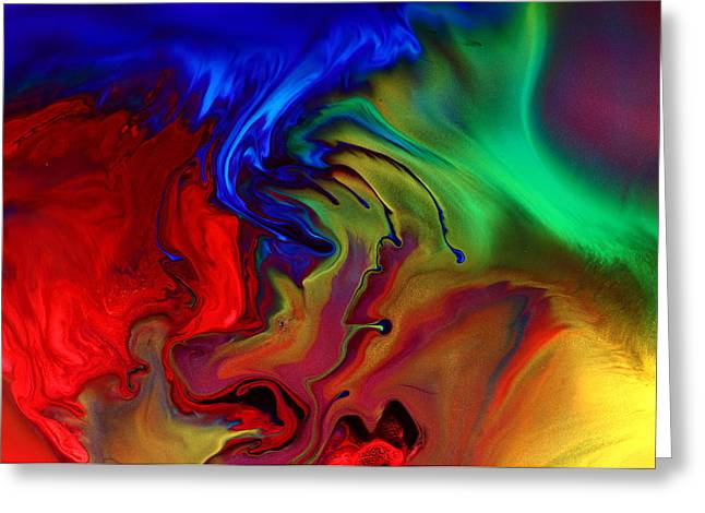 Colorful Contemporary Abstract Art Fusion  Greeting Card by Kredart