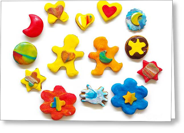 Baked Greeting Cards - Colorful Cookies Greeting Card by Carlos Caetano