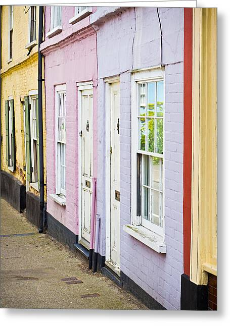 Facades Greeting Cards - Colorful cottages Greeting Card by Tom Gowanlock